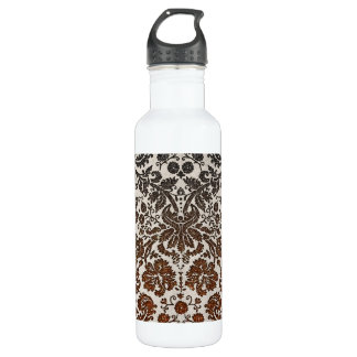 Copper, Black, and Brown Damask 24oz Water Bottle