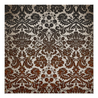Copper, Black, and Brown Damask Poster