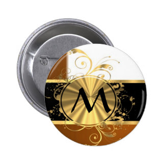 Copper black and gold monogram pinback button