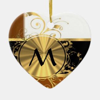 Copper black and gold monogram ceramic ornament