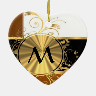 Copper black and gold monogram Double-Sided heart ceramic christmas ornament