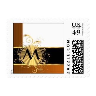 Copper black and gold monogram postage