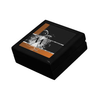 Copper black and silver monogram keepsake box