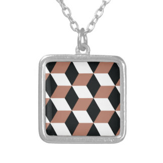 Copper Black and White 3D Cubes Pattern Silver Plated Necklace