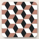 Copper Black & White 3D Cubes Pattern Beverage Coasters