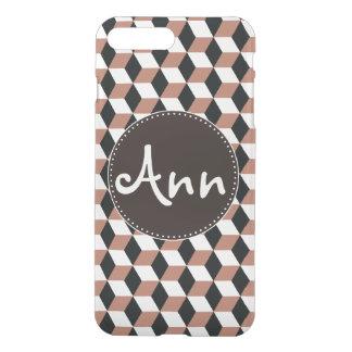 Copper Black & White 3D Cubes Pattern iPhone 8 Plus/7 Plus Case