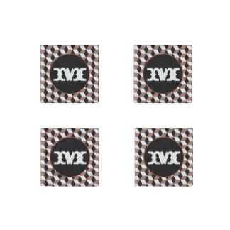 Copper, Black & White 3D Cubes Pattern Stone Magnet