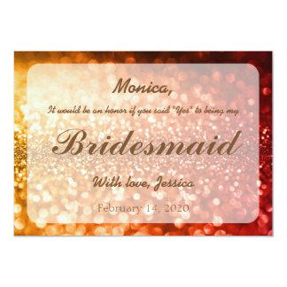 Copper Bokeh Glitter Bridesmaid Card