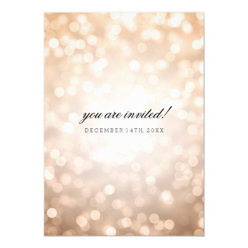 Copper Bokeh Lights Elegant Wedding Card (back side)