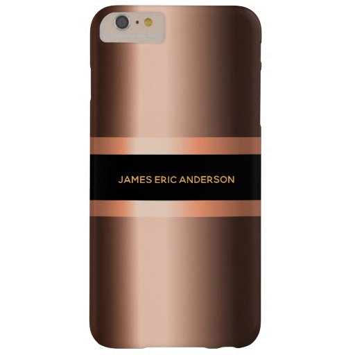 Copper bronze metallic black masculine name barely there iPhone 6 plus case