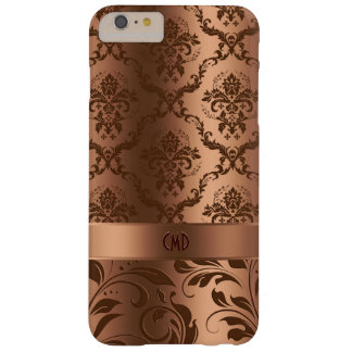 Copper Brown Damasks & Lace Metallic Look Monogram Barely There iPhone 6 Plus Case