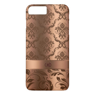 Copper Brown Damasks & Swirls Metallic Look iPhone 8 Plus/7 Plus Case