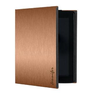 Copper Brown Metallic Brushed Aluminum Look iPad Folio Case