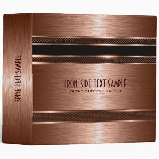 Copper Brown Metallic Brushed Steel Look Binder