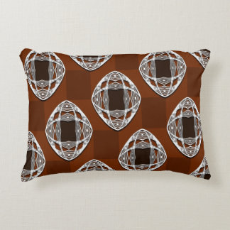 Copper Brown Nouveau Checked Pattern Accent Pillow