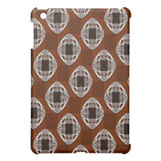 Copper Brown Nouveau Checked Pattern iPad Mini Covers