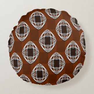 Copper Brown Nouveau Checked Pattern Round Pillow