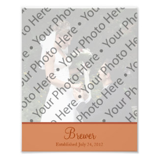 Copper Brown Wedding Photo Prints with Custom Text Photograph