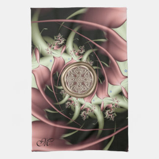 Copper Celery Monogram Fractal with Celtic Knot Hand Towel