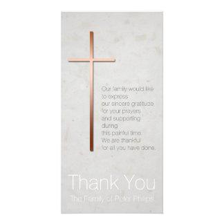 Copper Christian Cross Sympathy Thank You Photo Card