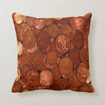 Professional Business Copper Coins Throw Pillow