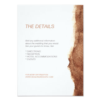 Copper color modern simple wedding direction card