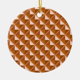 Copper colored, metallic look, studded grid ceramic ornament