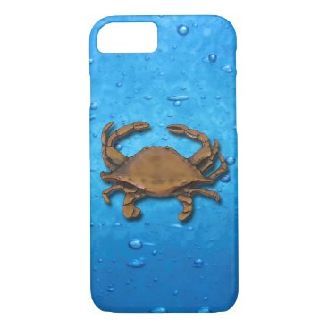 nautical_gifts Copper Crab on blue bubbles iPhone 7 Case