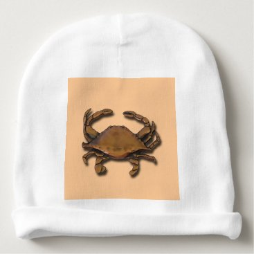 Beach Themed Copper Crab on Cream Baby Beanie