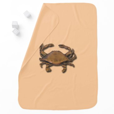 Beach Themed Copper Crab on Cream Baby Blanket