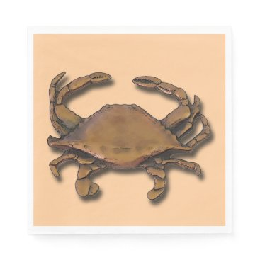 Beach Themed Copper Crab on Cream Napkin