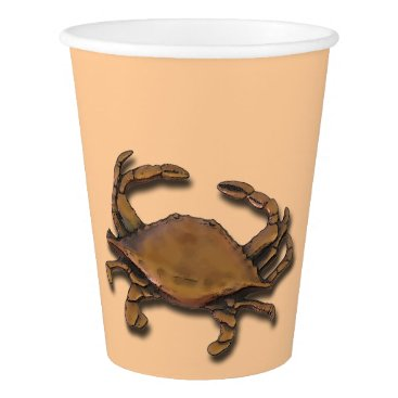 Beach Themed Copper Crab on Cream Paper Cup