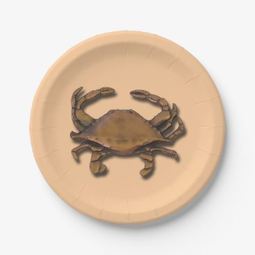 Beach Themed Copper Crab on Cream Paper Plate