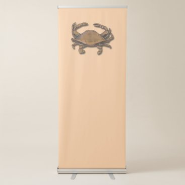 Beach Themed Copper Crab on Cream Retractable Banner
