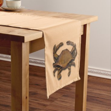 Beach Themed Copper Crab on Cream Short Table Runner