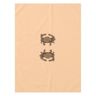Beach Themed Copper Crab on Cream Tablecloth