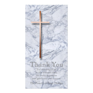 Copper Cross / Marble 1 - Sympathy Thank You Photo Card