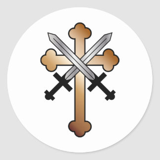 Copper Cross with Crossed Swords Classic Round Sticker