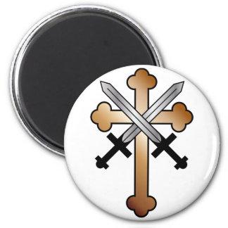 Copper Cross with Crossed Swords Magnet