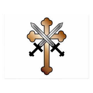 Copper Cross with Crossed Swords Postcard