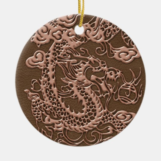 Copper Dragon on Brown Leather Texture Ceramic Ornament