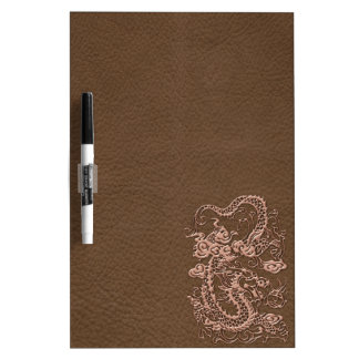 Copper Dragon on Brown Leather Texture Dry-Erase Whiteboard