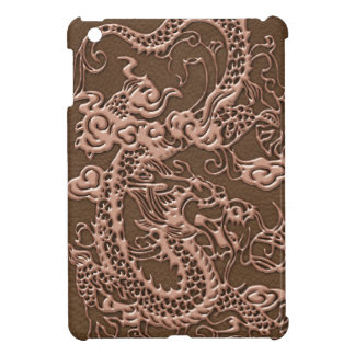 Copper Dragon on Brown Leather Texture iPad Mini Cases