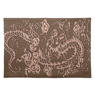 Copper Dragon on Brown Leather Texture Placemat