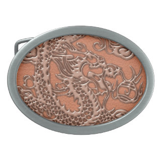 Copper Dragon on Coral Leather Texture Belt Buckle