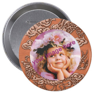 Copper Dragon on Coral Leather Texture Pinback Button