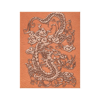Copper Dragon on Coral Leather Texture Canvas Print