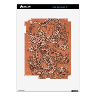 Copper Dragon on Coral Leather Texture iPad 2 Decals