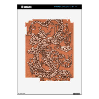Copper Dragon on Coral Leather Texture iPad 3 Skin