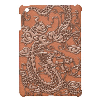 Copper Dragon on Coral Leather Texture Cover For The iPad Mini